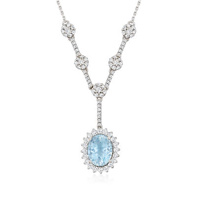 1.70 Carat Aquamarine and .79 ct. t.w. Diamond Necklace in 14kt White Gold