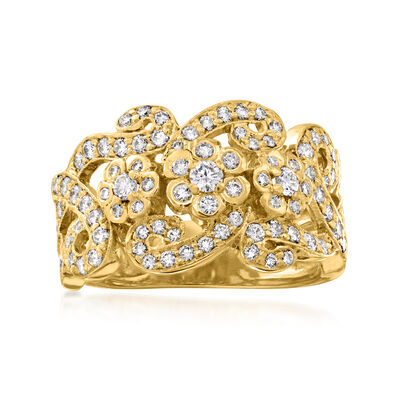 C. 1990 Vintage 1.35 ct. t.w. Diamond Floral Swirl Ring in 18kt Yellow Gold