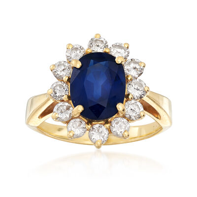 C. 1980 Vintage 2.35 Carat Sapphire and .85 ct. t.w. Diamond Ring in 18kt Yellow Gold, , default