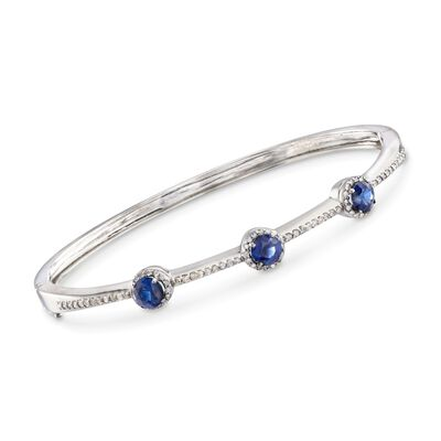 C. 1990 Vintage 1.65 ct. t.w. Sapphire and .60 ct. t.w. Diamond Station Bangle Bracelet in 14kt White Gold, , default
