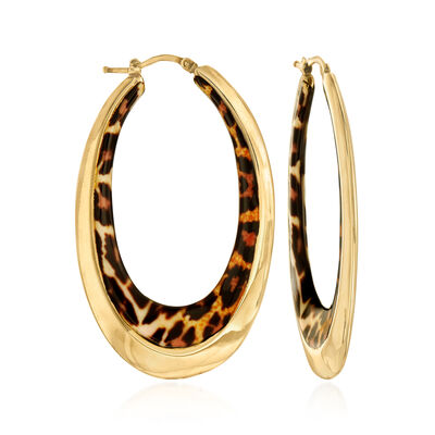 Italian Leopard-Print Enamel Oval Hoop Earrings in 14kt Yellow Gold, , default