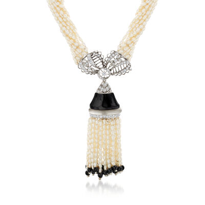 C. 1950 Vintage Cultured Pearl, Onyx, Simulated Onyx and .80 ct. t.w. Diamond Tassel Necklace with 18kt White Gold