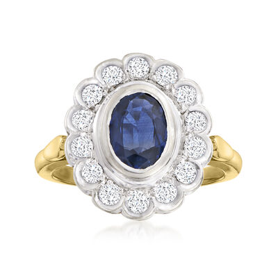 C. 1980 Vintage 1.00 Carat Sapphire and .45 ct. t.w. Diamond Ring in 14kt Two-Tone Gold