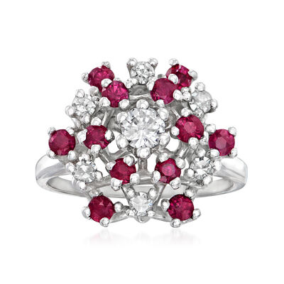 C. 1970 Vintage 1.10 ct. t.w. Ruby and .45 ct. t.w. Diamond Cluster Ring in 14kt Yellow Gold
