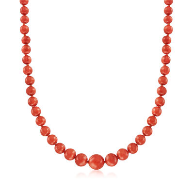 C. 1950 Vintage 5.5-13mm Red Coral Beaded Necklace with 14kt Yellow Gold