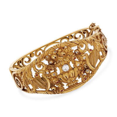 C. 1912 Vintage .35 ct. t.w. Diamond and .10 ct. t.w. Ruby Vase Carved Bangle Bracelet in 18kt Yellow Gold, , default