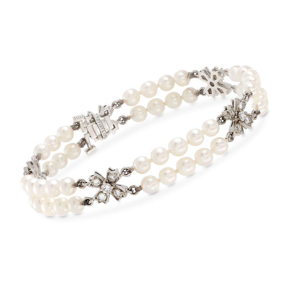 60cdbba02378c C. 1994 Vintage Tiffany Jewelry 4mm Cultured Pearl Double-Strand Bracelet  with .85 ct. t.w. Diamonds in Platinum. 6.5