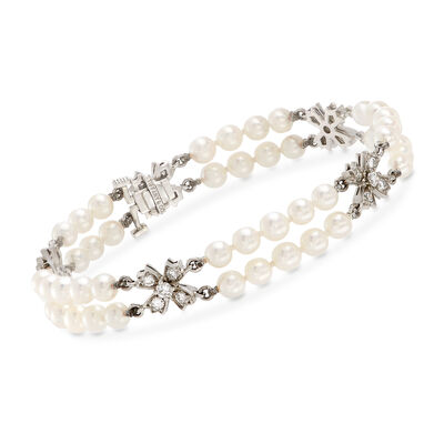 C. 1994 Vintage Tiffany Jewelry 4mm Cultured Pearl Double-Strand Bracelet with .85 ct. t.w. Diamonds in Platinum, , default