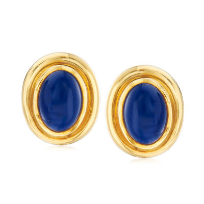"C. 1982 Vintage Tiffany Jewelry ""Paloma Picasso"" Lapis Clip-On Earrings in 18kt Yellow Gold, , default"
