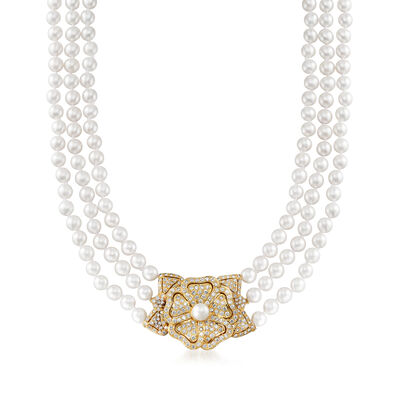 C. 1980 Vintage Cultured Pearl and 7.50 ct. t.w. Diamond Flower Necklace in 18kt Yellow Gold