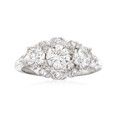 C. 1980 Vintage 1.12 ct. t.w. Diamond Cocktail Ring in 14kt White Gold