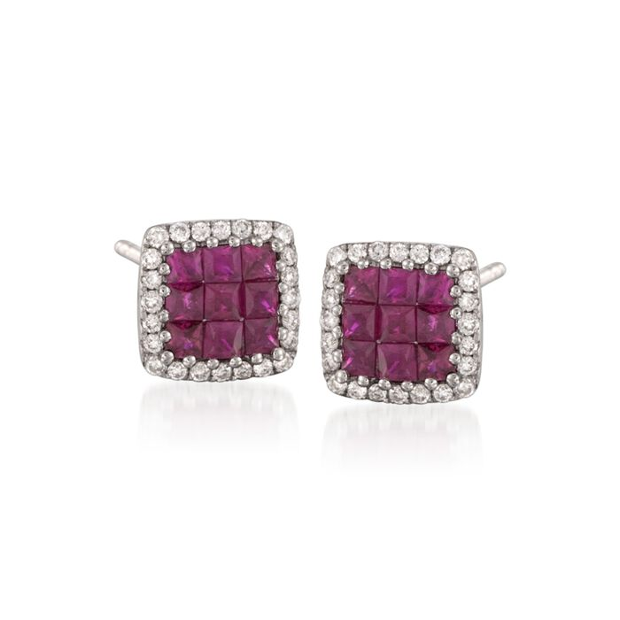Gregg Ruth .73 Carat Total Weight Ruby and .30 Carat Total Weight Diamond Studs, , default