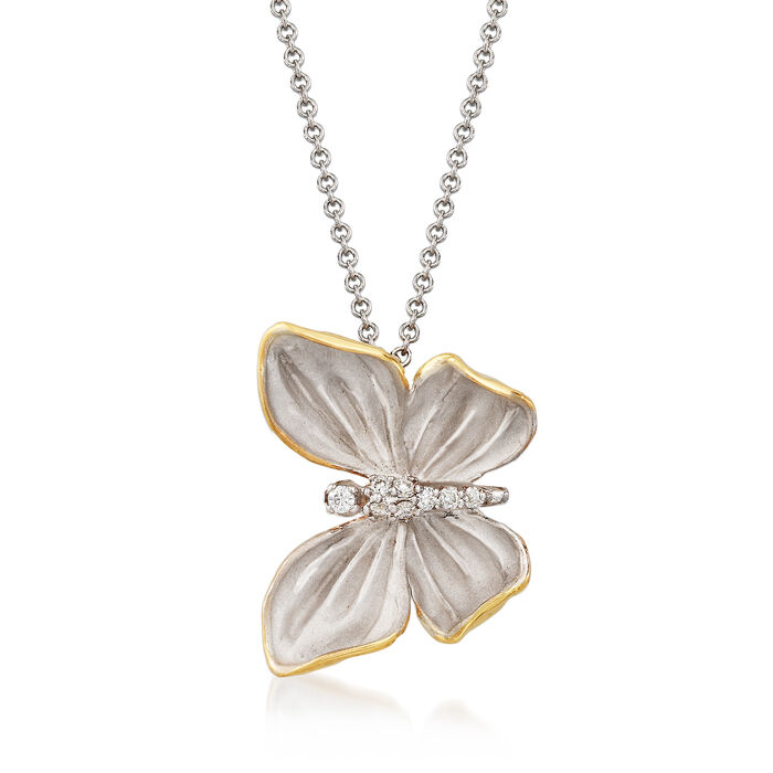 "Simon G. 18kt Two-Tone Gold Butterfly Necklace With Diamond Accents. 17"", , default"
