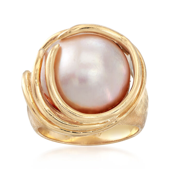 C. 1980 Vintage 15mm Cultured Mabe Pearl Ring in 14kt Yellow Gold. Size 6.5, , default