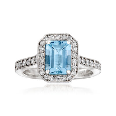C. 2000 Vintage 1.50 Carat Aquamarine and .45 ct. t.w. Diamond Ring in 14kt White Gold