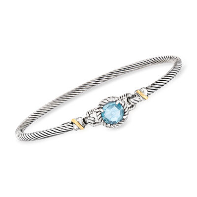 "Phillip Gavriel ""Italian Cable"" 2.40 Carat Blue Topaz Bracelet in Sterling Silver with 18kt Yellow Gold, , default"