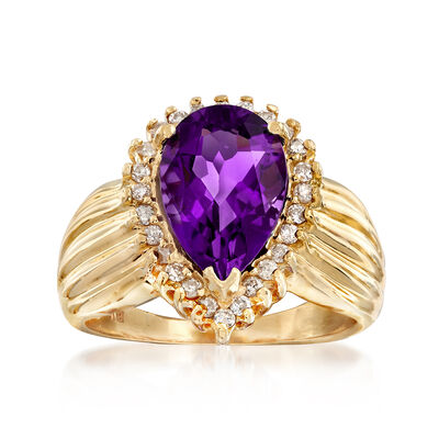 C. 1990 Vintage 2.45 Carat Amethyst and .30 ct. t.w. Diamond Ring in 14kt Yellow Gold, , default