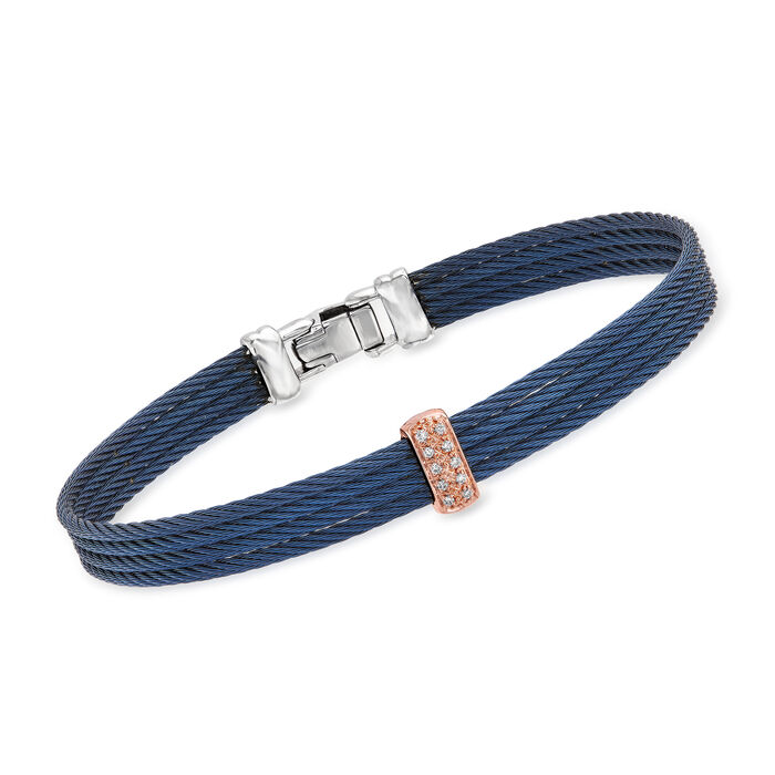 "ALOR ""Classique"" Navy Stainless Steel Cable Bracelet with Diamond Accents in 18kt Rose Gold. 7"""