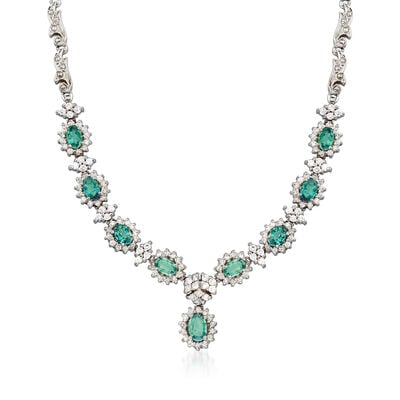C. 1990 Vintage 4.65 ct. t.w. Green Chrysoberyl and 1.85 ct. t.w. Diamond Necklace in 14kt White Gold