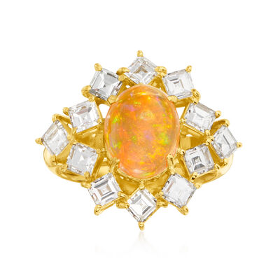 C. 1980 Vintage Fire Opal and 2.17 ct. t.w. Diamond Ring in 18kt Yellow Gold