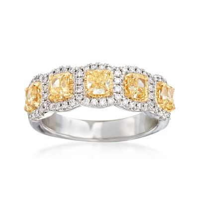 Henri Daussi 1.60 ct. t.w. Yellow and White Diamond Ring in 18kt White Gold