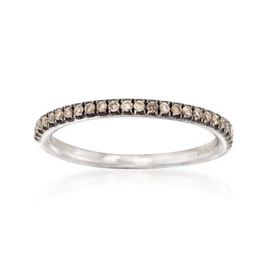 Henri Daussi .15 ct. t.w. Brown Diamond Wedding Ring in 14kt White Gold