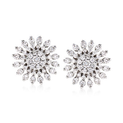 Roberto Coin .85 ct. t.w. Diamond Sunburst Earrings in 18kt White Gold, , default