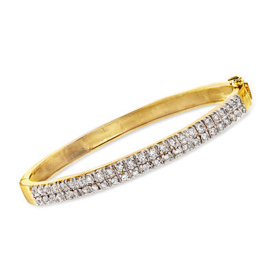C. 1980 Vintage 1.25 ct. t.w. Diamond Double-Row Bangle Bracelet in 14kt Yellow Gold