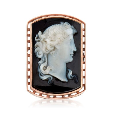 C. 1920 Vintage Black Agate Cameo Ring in 14kt Two-Tone Gold