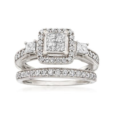 C. 1990 Vintage .90 ct. t.w. Diamond Bridal Set: Engagement and Wedding Rings in 10kt White Gold