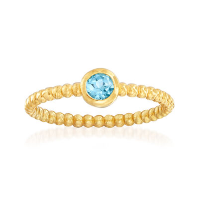 "Phillip Gavriel ""Popcorn"" .30 Carat Blue Topaz Beaded Ring in 14kt Yellow Gold"