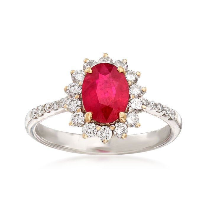 1.33 Carat Ruby and .45 ct. t.w. Diamond Ring in 18kt White Gold