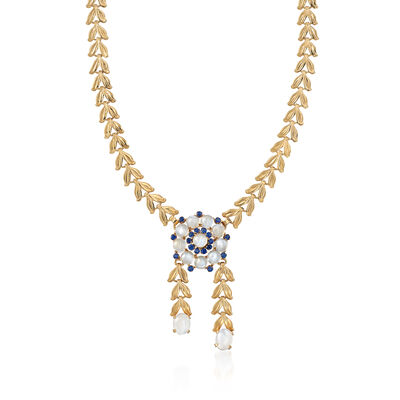 C. 1970 Vintage Moonstone and 1.90 ct. t.w. Sapphire Flower Necklace in 14kt Yellow Gold, , default