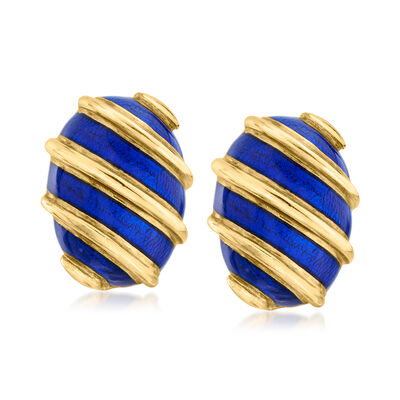 """C. 1990 Vintage Tiffany Jewelry """"Schlumberger"""" 18kt Yellow Gold and Blue Enamel Clip-On Earrings"""
