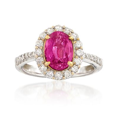 C. 2000 Vintage 2.47 Carat Pink Sapphire and .85 ct. t.w. Diamond Ring in 18kt White Gold