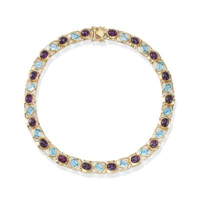 C. 1980 Vintage 30.50 ct. t.w. Bezel-Set Amethyst and 29.75 ct. t.w. Blue Topaz Necklace in 14kt Gold, , default