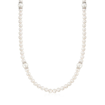 "Mikimoto ""Everyday Essentials"" 7-7.5mm Akoya and 10mm South Sea Pearl Necklace with Diamonds and 18kt White Gold, , default"