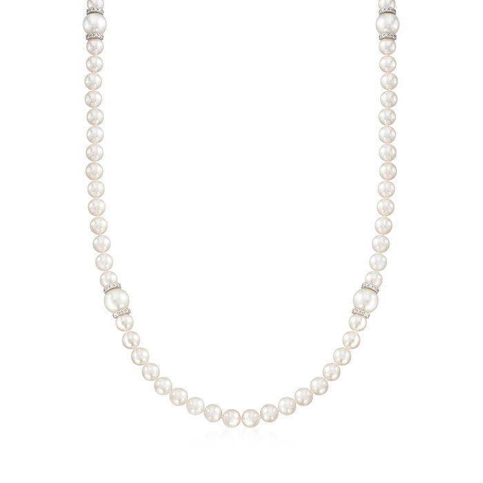 """Mikimoto """"Everyday Essentials"""" 7-7.5mm Akoya and 10mm South Sea Pearl Necklace with Diamonds and 18kt White Gold"""