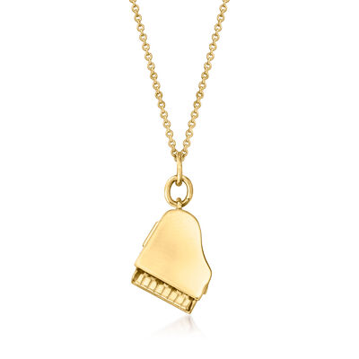 C. 1990 Vintage 14kt Yellow Gold Piano Pendant Necklace