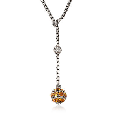 C. 2000 Vintage David Yurman 4.00 ct. t.w. Citrine and .40 ct. t.w. Diamond Y-Necklace in Sterling Silver, , default