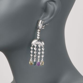 C. 2000 Vintage 18.50 ct. t.w. Multicolored Sapphire and Diamond Chandelier Earrings in 14kt Gold