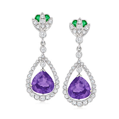 C. 1990 Vintage 3.90 ct. t.w. Amethyst Drop Earrings with .90 ct. t.w. Diamonds and .12 ct. t.w. Emerald in 18kt White Gold
