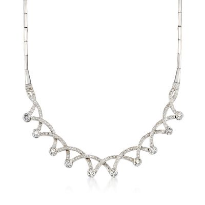 C. 1970 Vintage 2.75 ct. t.w. Diamond Necklace in 18kt White Gold, , default