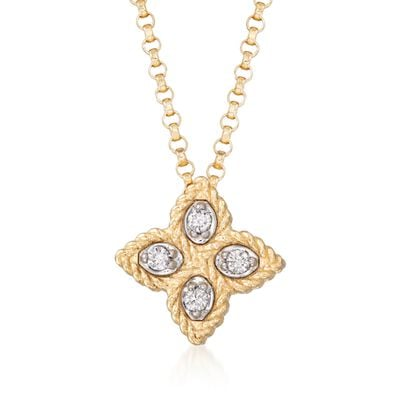 "Roberto Coin ""Princess"" 18kt Yellow Gold Small Flower Pendant Necklace with Diamond Accents, , default"