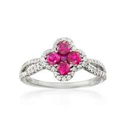 Gregg Ruth .80 ct. t.w. Ruby and .35 ct. t.w. Diamond Ring in 18kt White Gold, , default