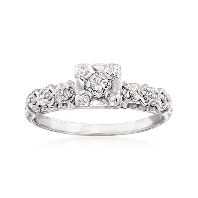 C. 1980 Vintage .22 ct. t.w. Diamond Ring in 14kt White Gold