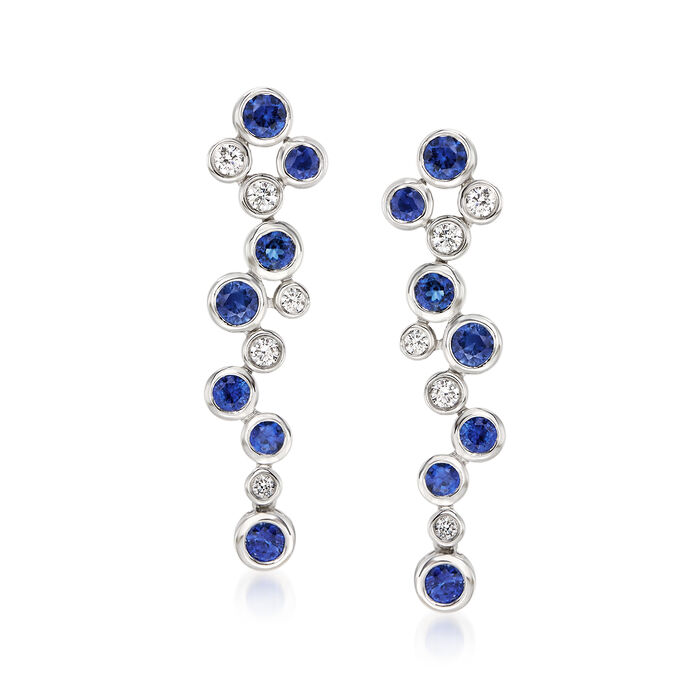 Gregg Ruth .64 ct. t.w. Sapphire and .25 ct. t.w. Diamond Bubble Bezel-Set Drop Earrings in 18kt White Gold