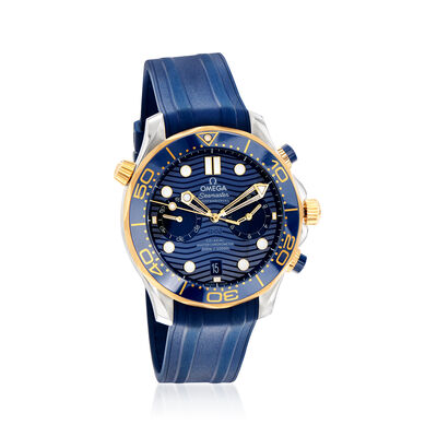Omega Seamaster Diver Men's 44mm Auto Chronograph Stainless Steel and 18kt Yellow Gold Watch with Blue Rubber Strap
