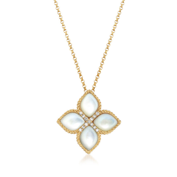 "Roberto Coin ""Venetian Princess"" Mother-Of-Pearl Floral Pendant Necklace with Diamond Accents in 18kt Gold. 16.5"", , default"