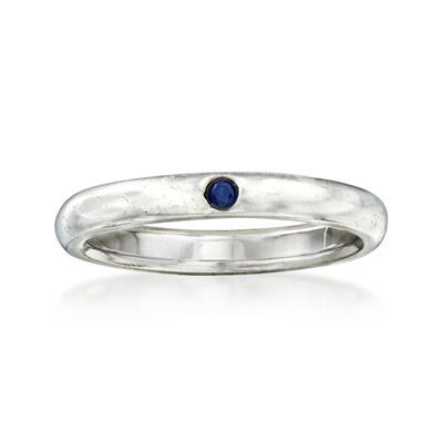 C. 1990 Vintage Tiffany Jewelry Sterling Silver Ring with Sapphire Accent, , default
